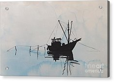 Fishingboat In Foggy Weather Acrylic Print