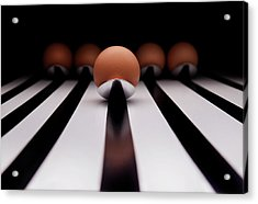 Five Brown Eggs Held In Five Stainless Steel Spoon Acrylic Print by TonyMaj