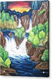 Acrylic Print featuring the painting Five Falls by Cheryl Pettigrew
