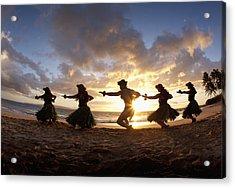 Five Hula Dancers At The Beach At Palauea Acrylic Print by David Olsen