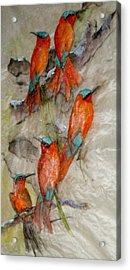 Five Very Orange Birds Acrylic Print