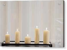 Five White Lit Candles Acrylic Print by Andersen Ross