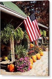Flag Among The Pumpkins Acrylic Print by Judith Lawhon