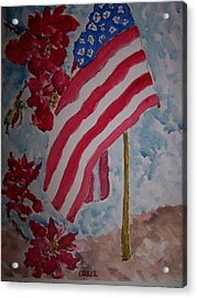 Flag And Roses Acrylic Print by James Cox