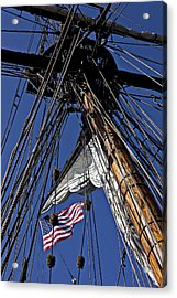 Flag In The Rigging Acrylic Print by Garry Gay