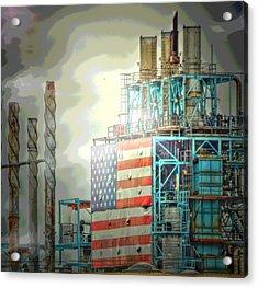 Flag On Refinery Acrylic Print