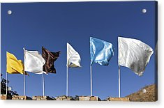 Flags Fluttering Against Blue Sky Acrylic Print by Kantilal Patel