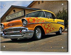 Flamed 57 Chevy Acrylic Print by Fred Wilson