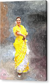 Acrylic Print featuring the photograph Flamenco Dancer In Yellow by Davandra Cribbie