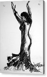 Flamenco Sketch 3 Acrylic Print by Mona Edulesco