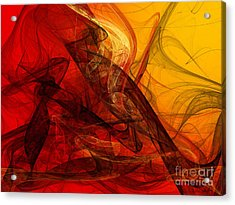 Flaming Fractals On Red And Gold Acrylic Print
