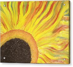 Acrylic Print featuring the painting Flaming Sunflower by Margaret Harmon