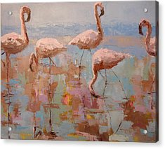 Flamingoes Acrylic Print