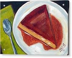 Flan Oil Painting Acrylic Print by Maria Soto Robbins