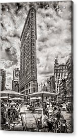 Acrylic Print featuring the photograph Flatiron Building Hdr by Steve Zimic