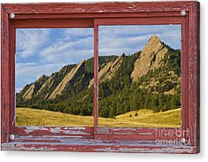 Flatirons Boulder Colorado Red Barn Picture Window Frame Photos  Acrylic Print by James BO  Insogna