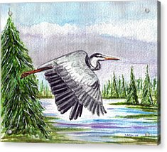Acrylic Print featuring the painting Flight Of Fantasy by Clara Sue Beym