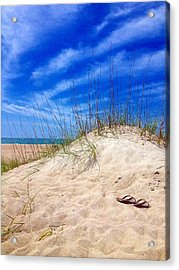 Flip Flops In The Sand Acrylic Print by Joan Meyland