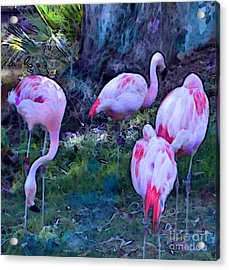 Acrylic Print featuring the painting Flippin' Flamingoes by Elinor Mavor