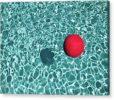 Floating Red Ball In Blue Rippled Water Acrylic Print
