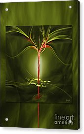 Floating With Red Flow 9 Green Acrylic Print