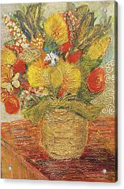 Floral In Vase With A Bow Acrylic Print by Anne-Elizabeth Whiteway