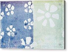 Floral Pattern On Old Grunge Paper Acrylic Print by Setsiri Silapasuwanchai