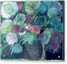 Floral With Blues Acrylic Print by Anne-Elizabeth Whiteway
