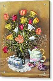 Floral With China And Ceramics Acrylic Print