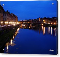Acrylic Print featuring the photograph Florence Arno River Night by Patrick Witz