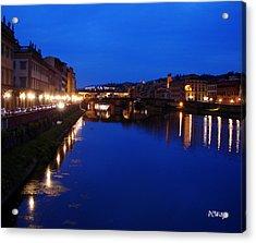 Florence Arno River Night Acrylic Print by Patrick Witz
