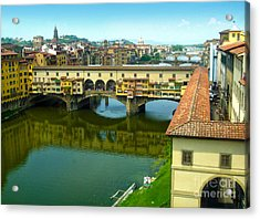 Florence Italy - Ponte Vecchio From The Uffizzi Acrylic Print by Gregory Dyer