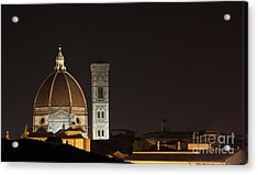 Florence Skyline At Night Acrylic Print by Chris Hill