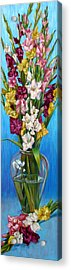 Acrylic Print featuring the painting Floretta's Gladiolus by Nancy Tilles
