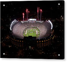 Florida State Fireworks Over Doak Campbell Stadium Aerial View Acrylic Print by Replay Photos
