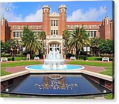 Florida State Fountain At The Westcott Building Acrylic Print by Larry Novey