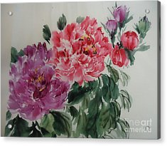 Acrylic Print featuring the painting Flower-2-2012 by Dongling Sun