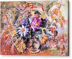 Acrylic Print featuring the painting Flower Burst Mixed Bouquet by Richard James Digance