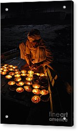 Flower Ceremony On The Ganges River Acrylic Print by Jen Bodendorfer