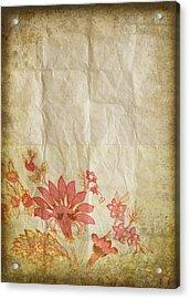 Flower Pattern On Old Paper Acrylic Print by Setsiri Silapasuwanchai