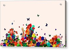 Flower Power Vintage Montage Acrylic Print by Carly Ralph