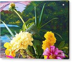Flower River Island Acrylic Print by Judy Via-Wolff
