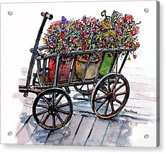 Acrylic Print featuring the painting Flower Wagon by Terry Banderas