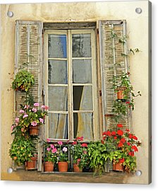 Acrylic Print featuring the photograph Flower Window Provence France by Dave Mills