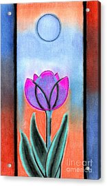 Acrylic Print featuring the pastel Flower With Blue Moon by Christine Perry