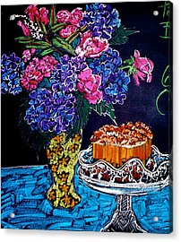 Flowers And Cake Acrylic Print