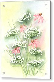 Flowers And Lace Acrylic Print by Susan Mahoney