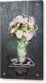 Flowers And Vase Acrylic Print by Angela Stout