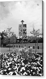 Flowers At Citi Field In Black And White Acrylic Print by Rob Hans