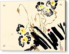 Flowers Grey Acrylic Print
